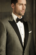 Charcoal Luxury Flannel Tux with contrasting black lapel