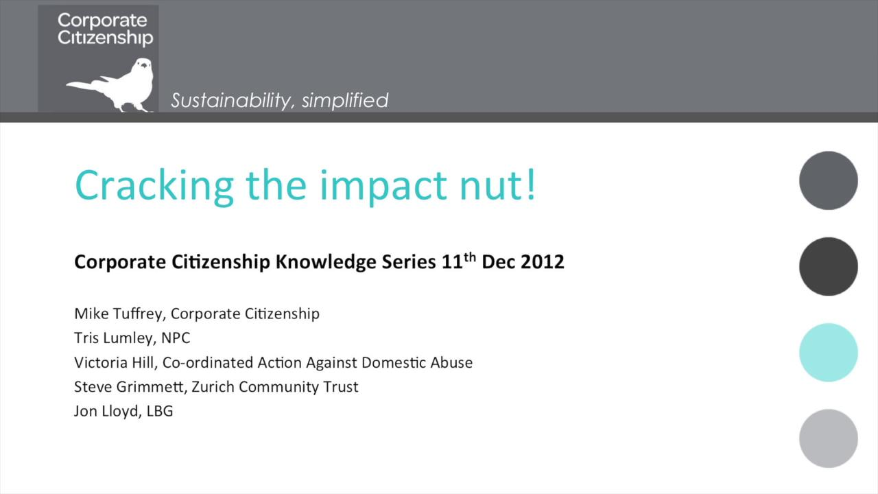 Corporate Citizenship- Cracking the Impact Nut