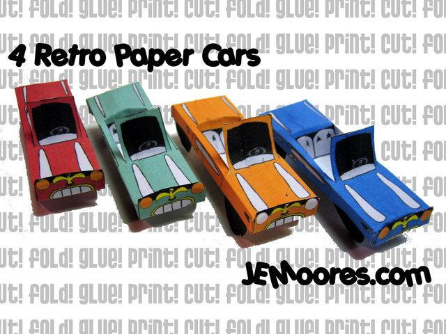 4 Retro Paper Cars by J.E.Moores