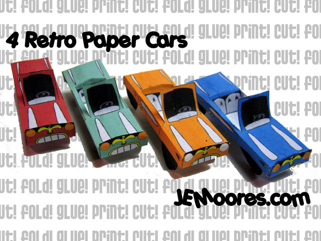 4 Retro Paper Cars by J.E.Moores