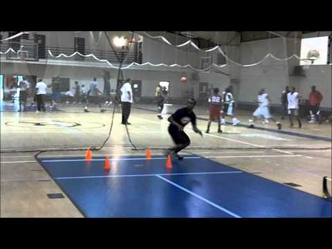 Quick High Knee Hurdle Runs to 4 Cone Touch Drill to Jump Shot