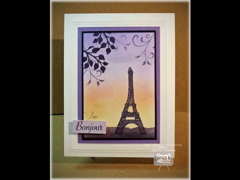 Eiffel Tower Sponged Scene Card