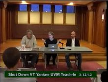 Maggie Gundersen speaks at UVM regarding similarities between VY and Fukushima Daiichi