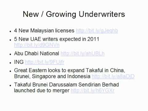 Takaful (Retakaful) Presentation on Trends by Claude Penland regarding Country, Underwriters, etc.