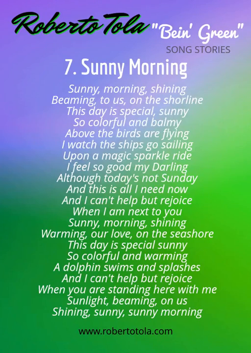 SUNNY MORNING - From The Album _Bein' Green_ by Roberto Tola