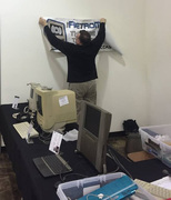 Putting up the RetroMacCast Sign