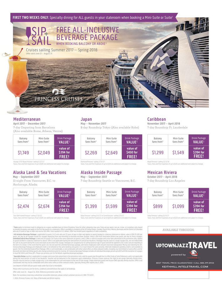 "UptownJazzTRAVEL: Princess Cruises ""SIP+SAIL"""
