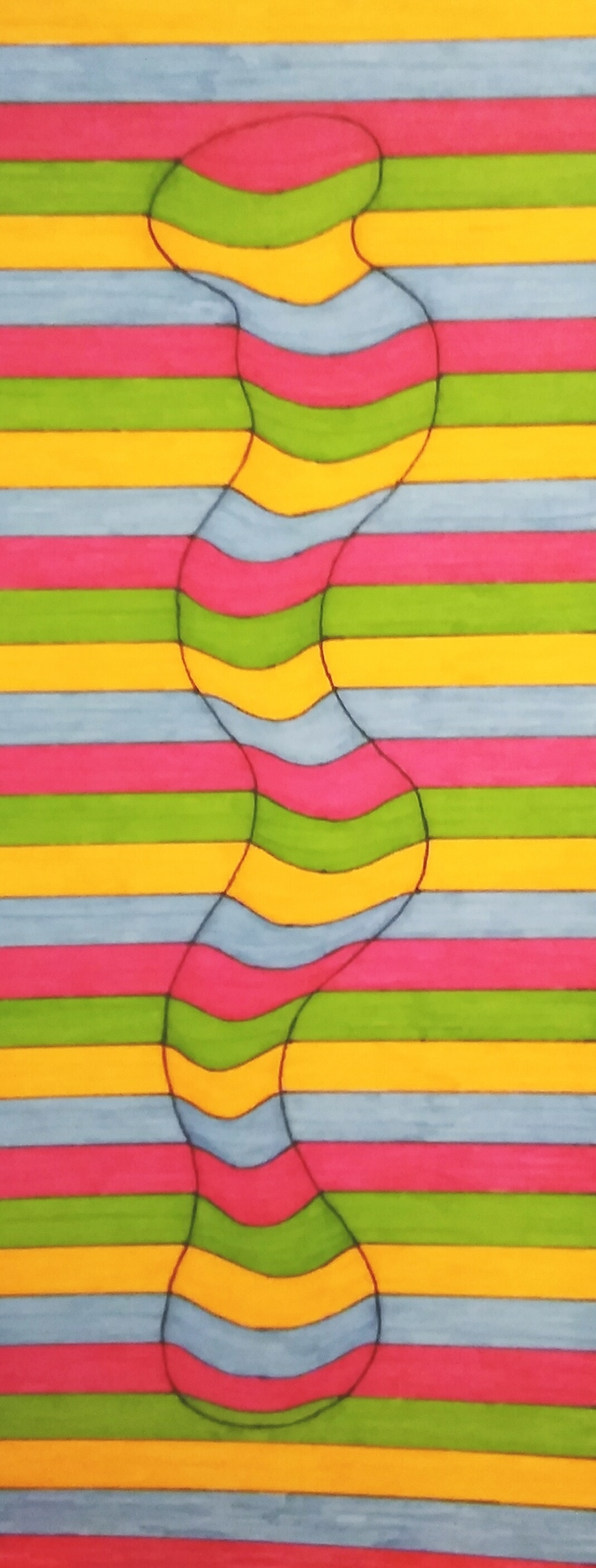 Rainbow Of Squiggly Lines Caught Within the Row