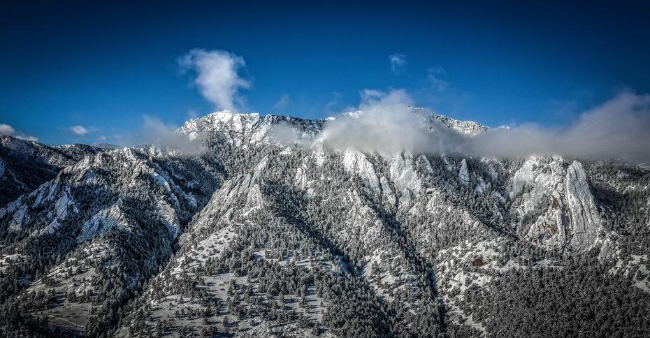 Boulder Flatirons after the snow