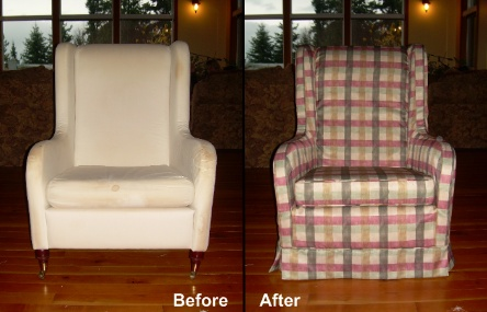 Plaid Slipcover for Wingchair