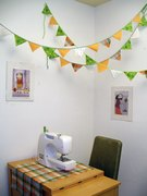 pennant decor in the craft room