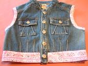 repurposed jeans jacket now a vest