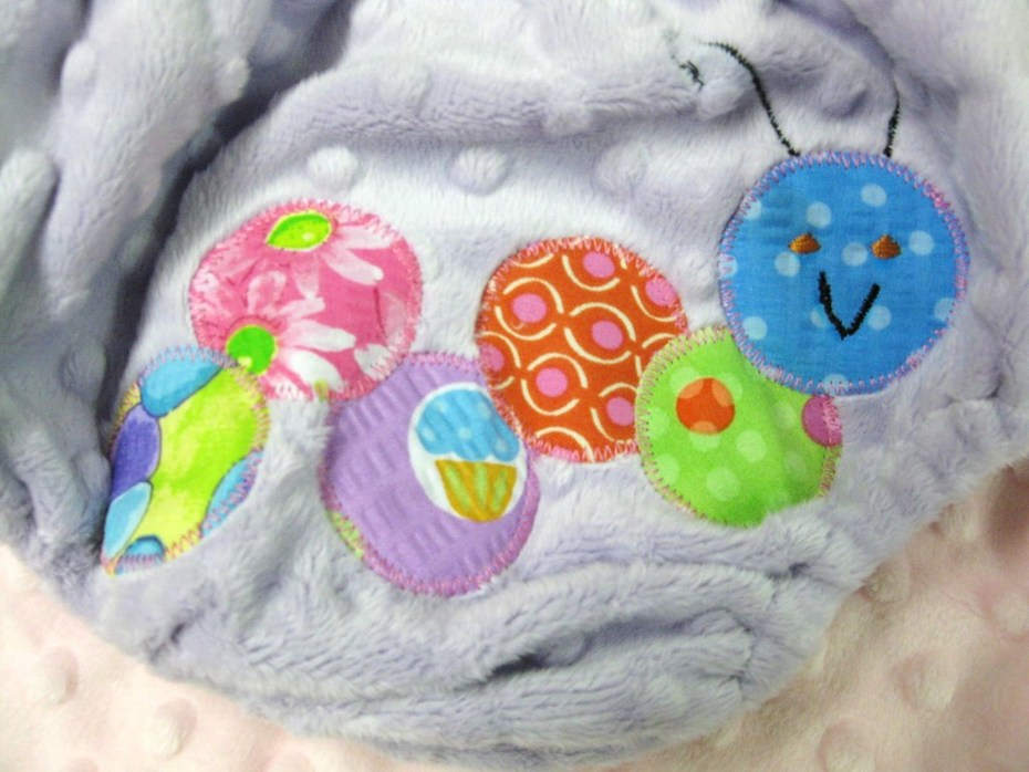 Caterpillar Appliqued Minky Diaper Cover