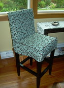 Leather barstool with slipcover