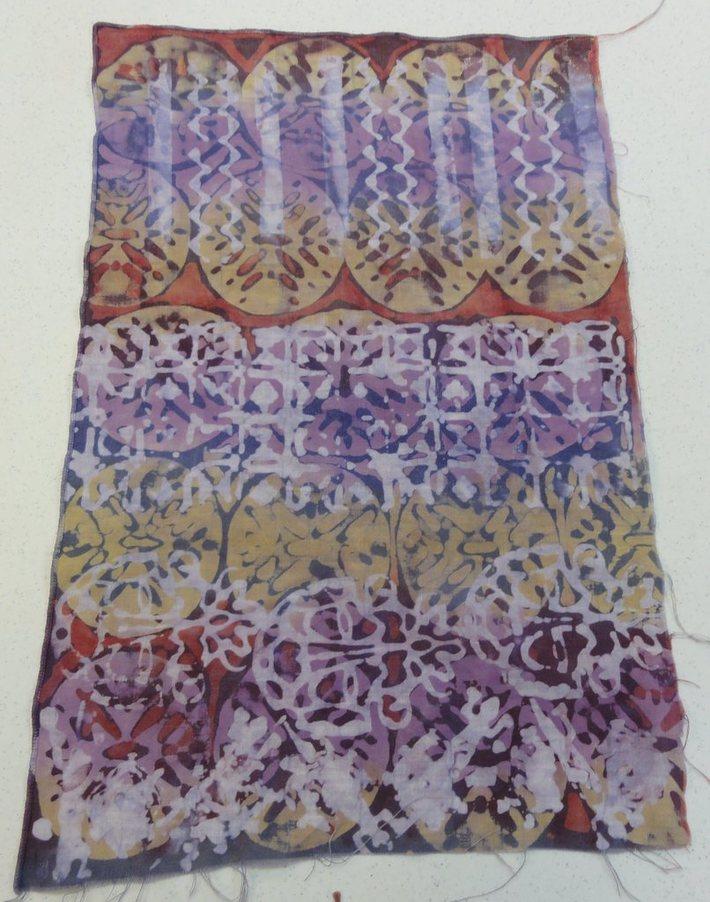 red and purple batik