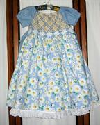 BlueTricolor Peasant Dress