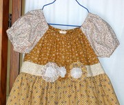 Girls Tricolor Tan peasant Dress