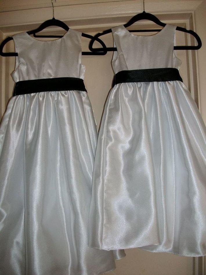 White Satin Bridesmaid Dresses With Black Satin Sashes