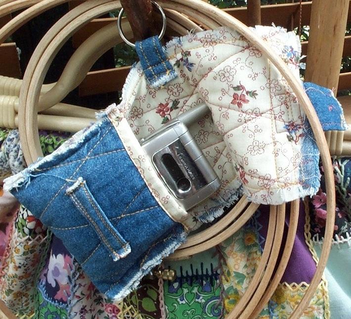 Frayed Denim pouch open