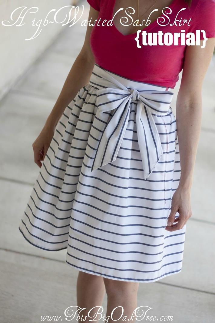 High Waisted Sash Skirt Tutorial