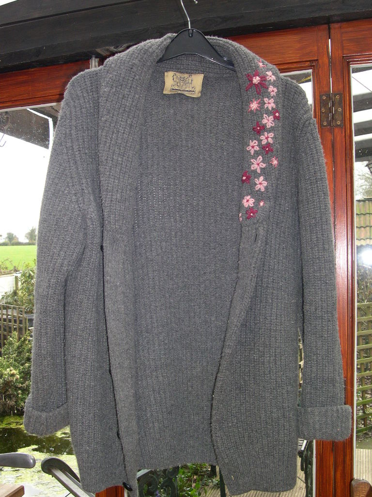 Grey Cardigan embroidered