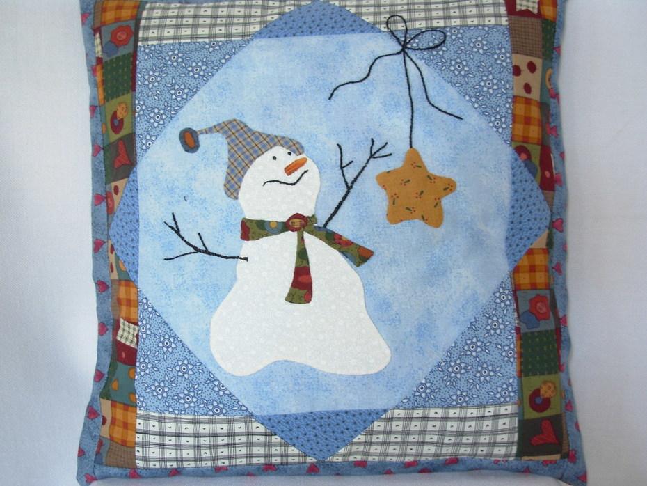 Snowman Folkart Pillow