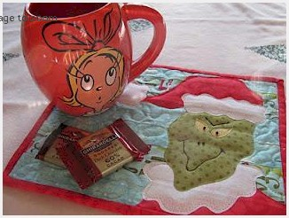 The Grinch Quilted Mug Rug - Free Pattern by Quilt Doodle Designs