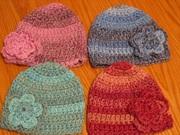Crochet Ladies' Hats with Crochet Flowers