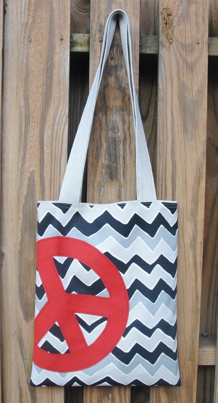 Appliqued Peace Tote Bag