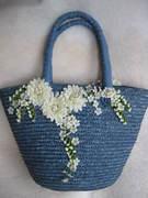 blue and white upcycled basket 001