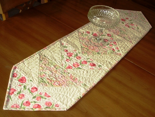 Pink Tulips and Paisley on Cream - Quilted Table Runner