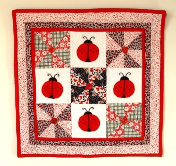 Lady Bug Love Pinwheel Quilt