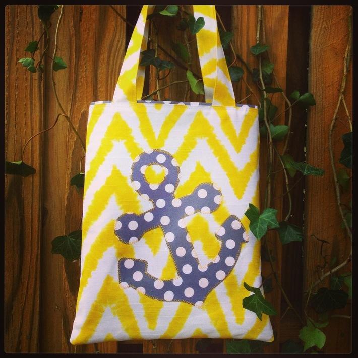 Appliqued Anchor Tote Bag
