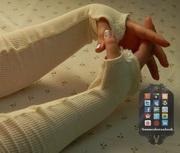 Cream Waffle Knit Arm Warmers