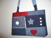 denim bag with buttons