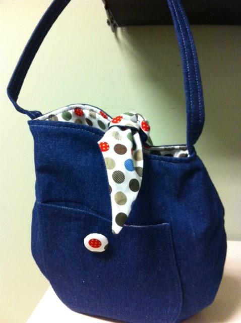 Denim-Dot Tulip Bag