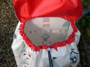 Oilcloth Wheeled Shopping Bag - flap and drawstring