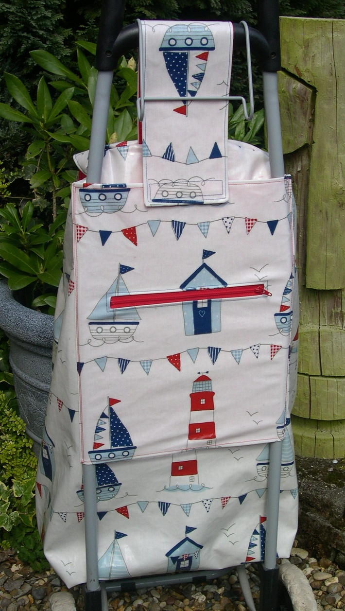 New Oilcloth Cover for  Wheeled Shopping Bag - back