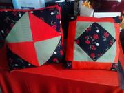 Red and Black Patchwork Pillows