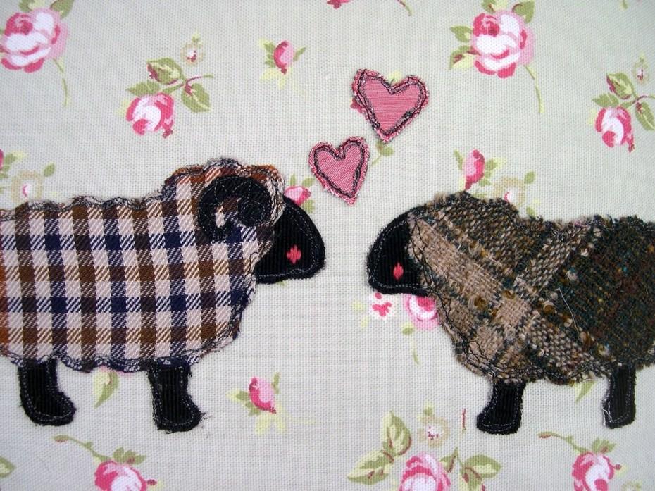 "Close up of ""I love ewe"" cushion on new pastures"