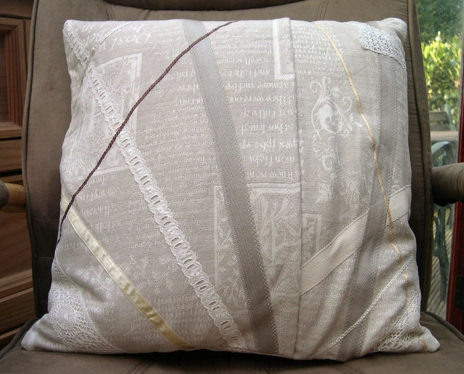 """Back of """"Embroidered Memories"""" cushion"""