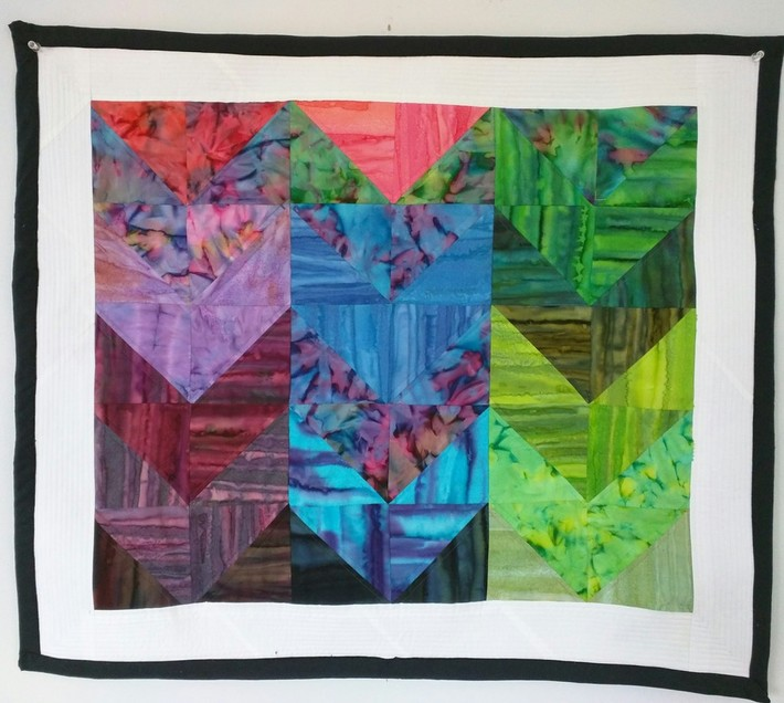 Rainbow Chevron Wall Hanging - Quilt-As-You-Go Method