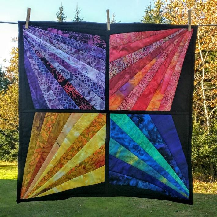 Modern Rainbow Star Mini Quilt - Quilt-As-You-Go Method