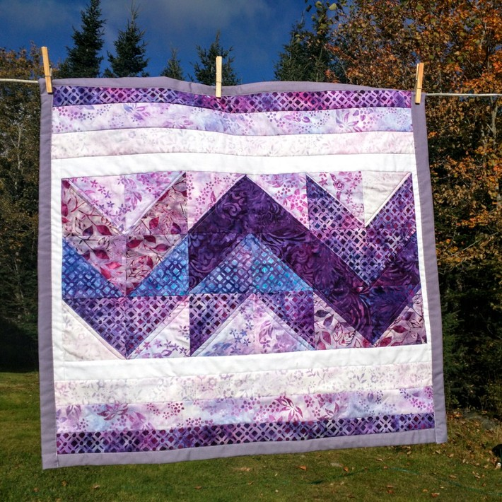 Modern Chevrons Mini Quilt in Purples & Blues