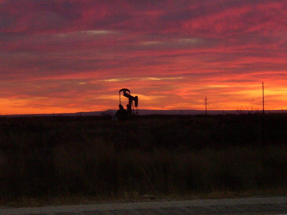 pumpjack at sunset