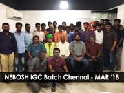 NEBOSH course training in Chennai - Batch Photo - March 2018