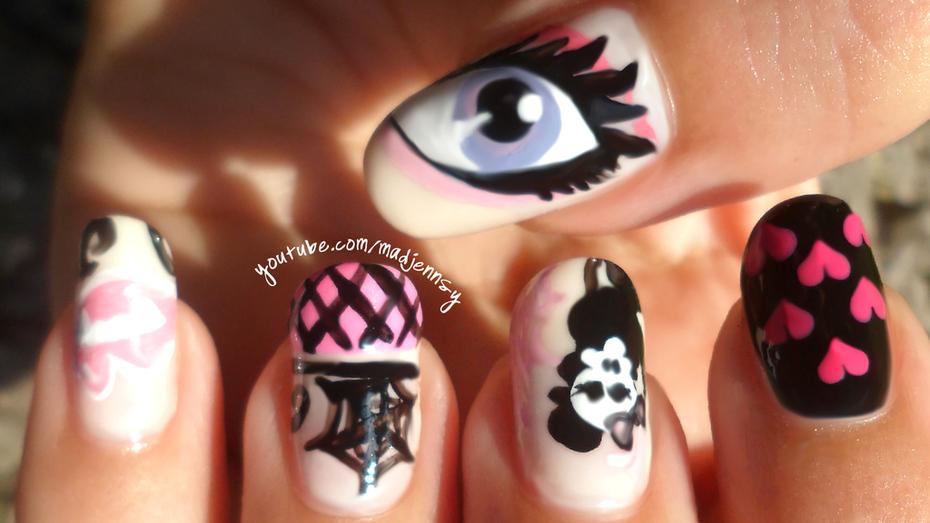 Monster High Nail Art ★ Draculaura Inspired