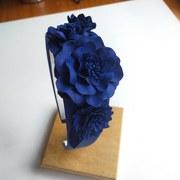 Cobalt leather floral headband