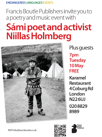 Sámi poet and environmental activist performing in Wood Green