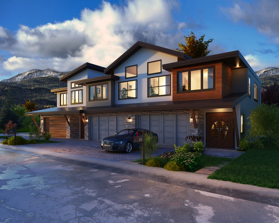 3 Plex Exterior Rendering for Snowmass County